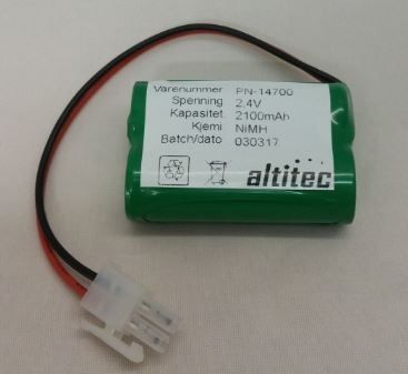 Nødlysbatteri 2,4V 2,1Ah NIMH erstatter Glamox 19596024